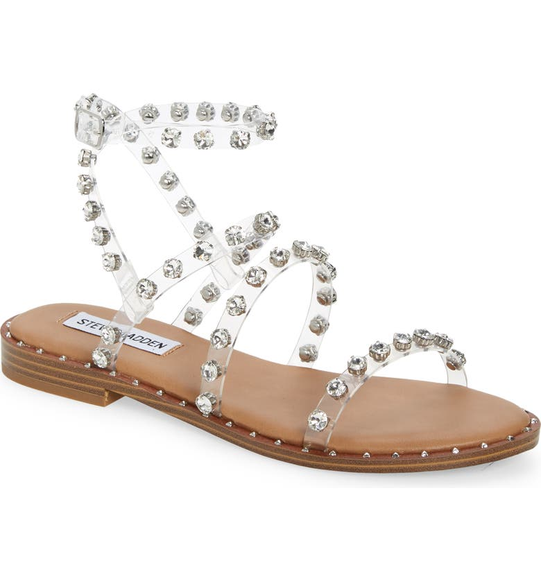 STEVE MADDEN Travel Crystal Studded Strappy Sandal, Main, color, CLEAR