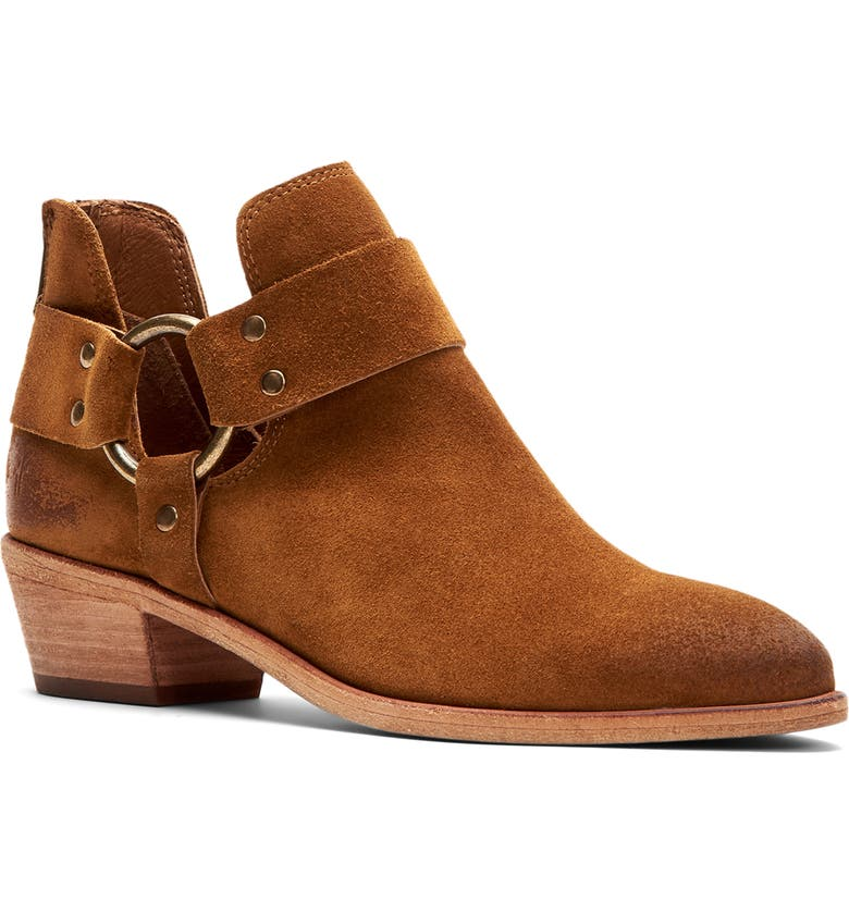 FRYE Ray Low Harness Bootie, Main, color, WHEAT SUEDE
