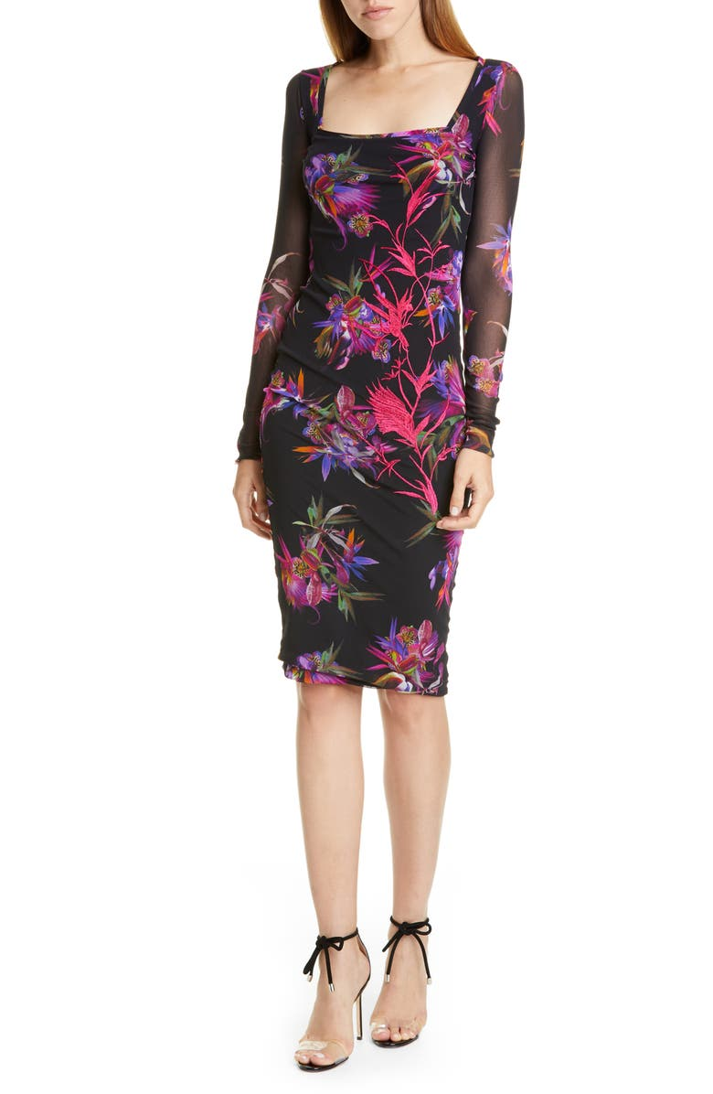FUZZI Floral Embroidered Long Sleeve Dress, Main, color, 001