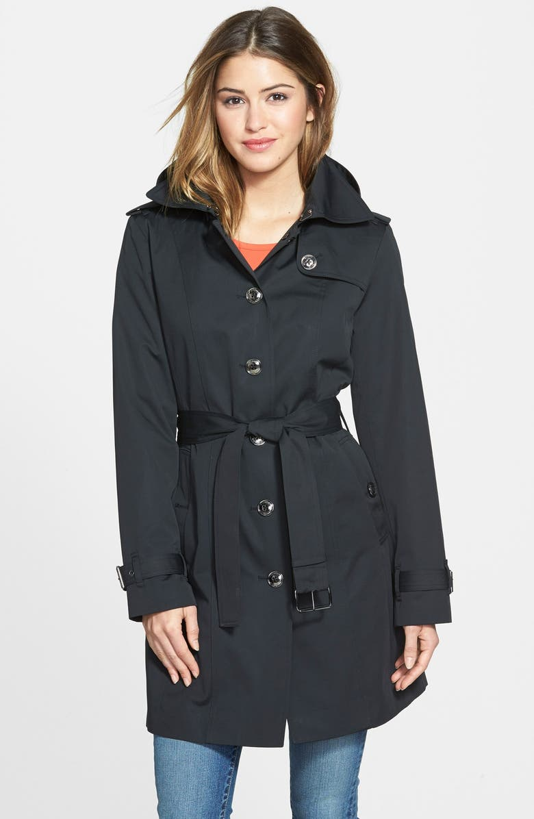 MICHAEL MICHAEL KORS Single Breasted Hooded Trench Coat with Removable Liner, Main, color, Black