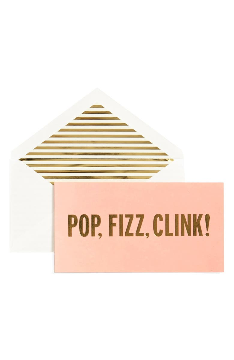KATE SPADE NEW YORK 'pop, fizz, clink!' holiday cards, Main, color, Pink