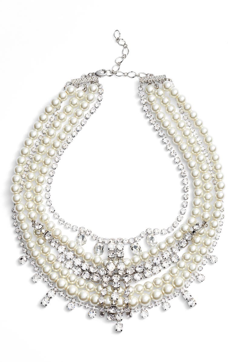 CRISTABELLE Crystal & Imitation Pearl Multistrand Necklace, Main, color, 040