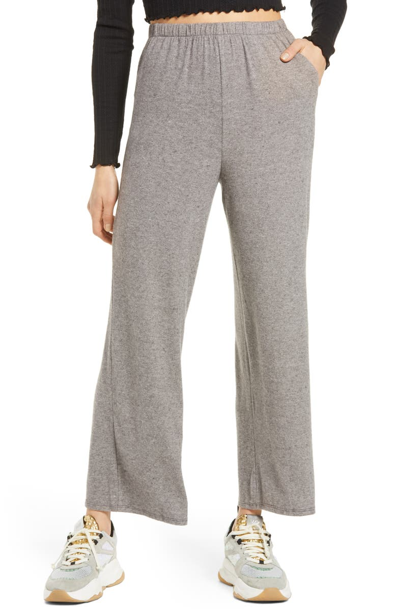 ALL IN FAVOR Wide Leg Lounge Pants, Main, color, BLACK IVORY