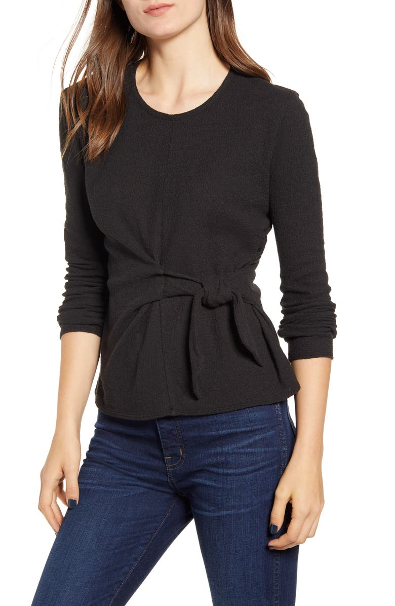 MADEWELL Texture & Thread Side Tie Tee, Main, color, 001