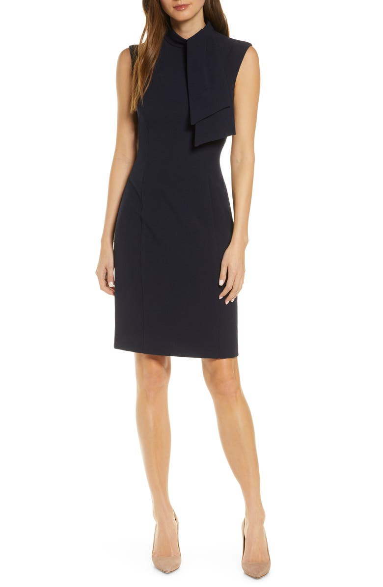 HARPER ROSE Tie Neck Sheath Dress, Main, color, NAVY