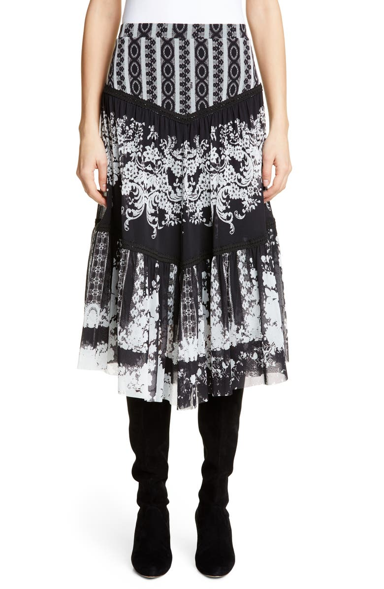 FUZZI Lace Print Tiered Skirt, Main, color, 001