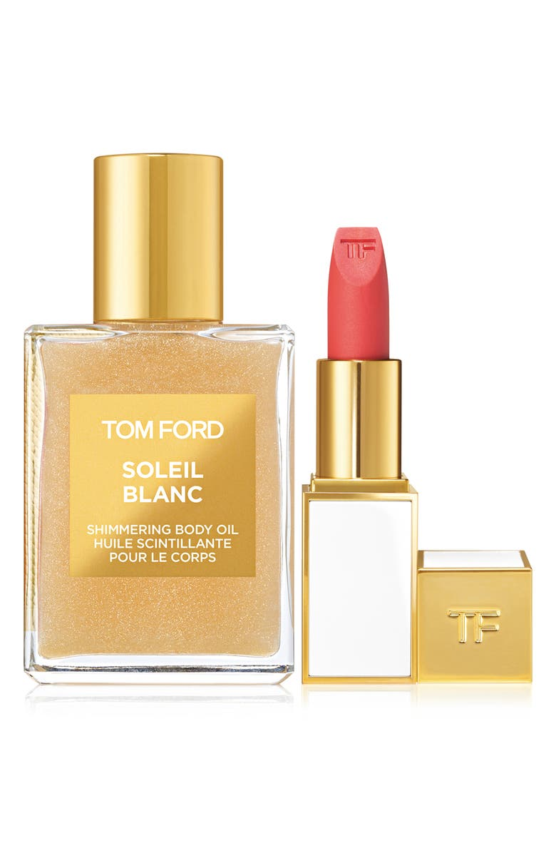 TOM FORD Soleil Blanc Shimmering Body Oil & Lip Color Sheer Set, Main, color, No Color