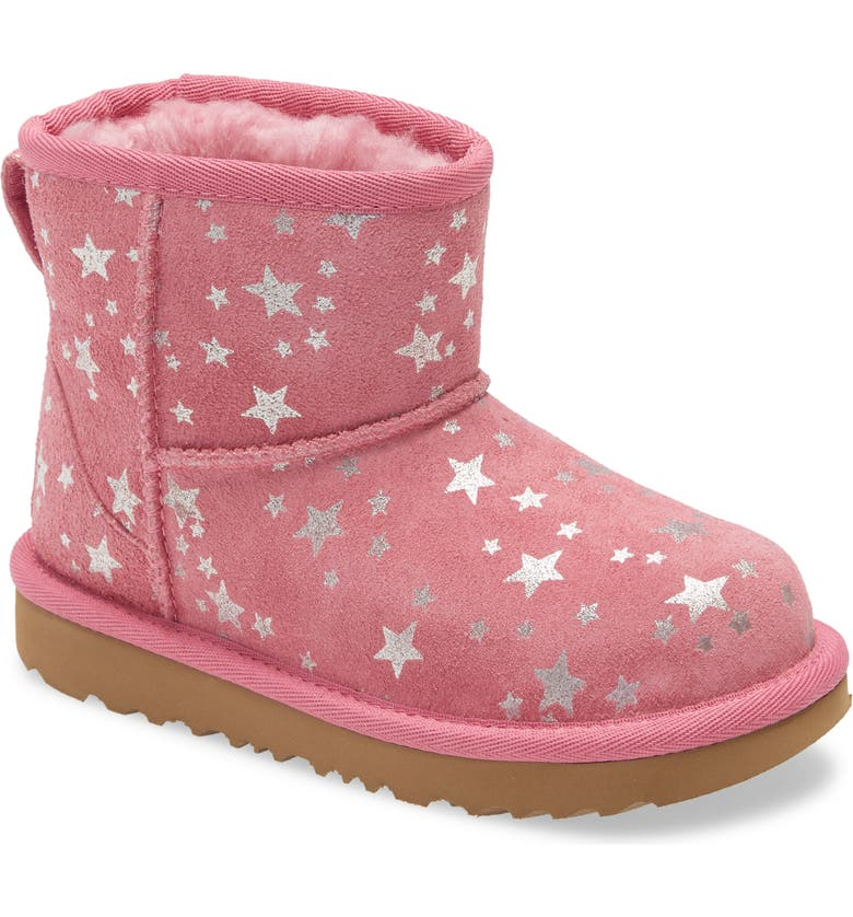 UGG<SUP>®</SUP> Kids' Classic Mini II Star Boot, Main, color, WILD BERRY