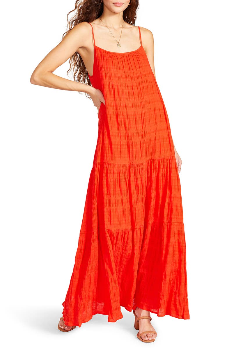 BB DAKOTA BY STEVE MADDEN Tiered Voile Maxi Dress, Main, color, HIBISCUS RED