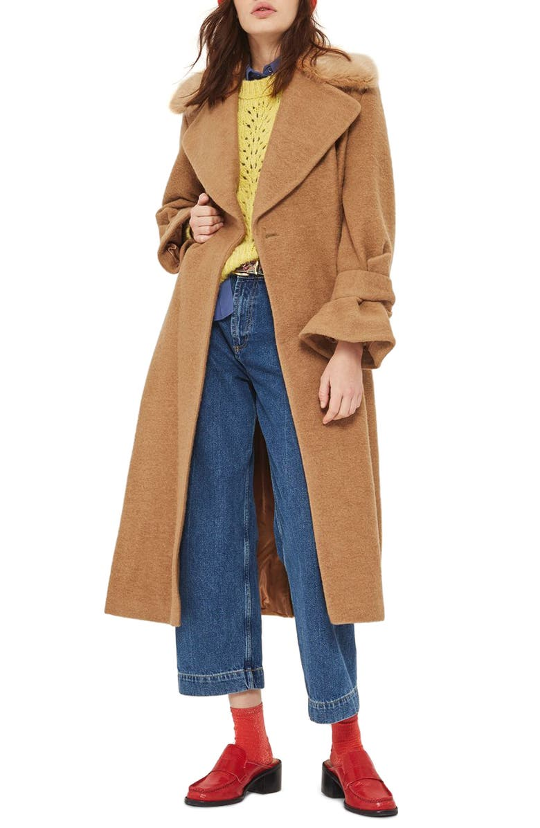 TOPSHOP Faux Fur Collar Belted Wool Blend Coat, Main, color, 252