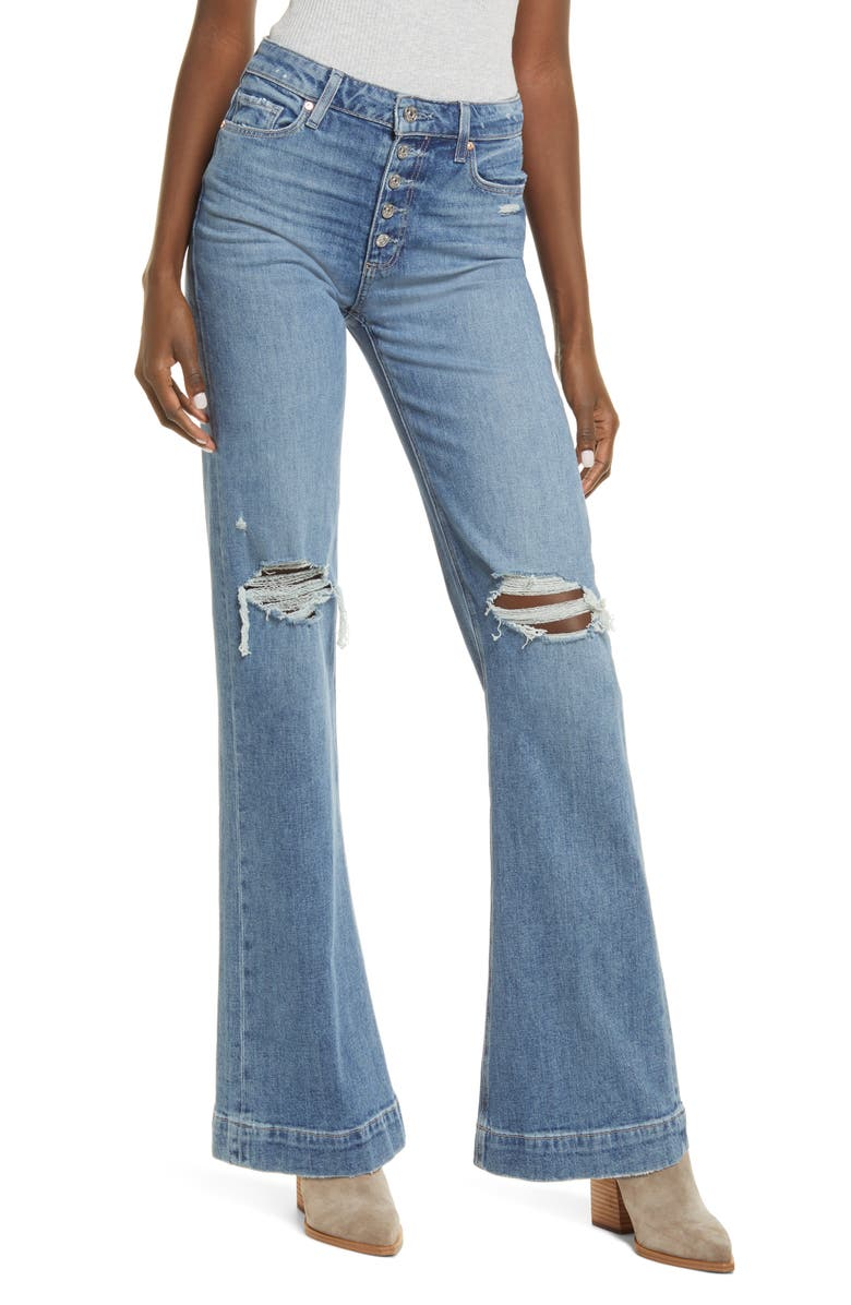 PAIGE Leenah High Waist Exposed Button Fly Flare Leg Jeans, Main, color, MAGDA DESTRUCTED