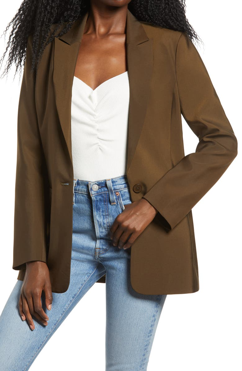 ENDLESS ROSE Tailored Single Button Blazer, Main, color, OLIVE