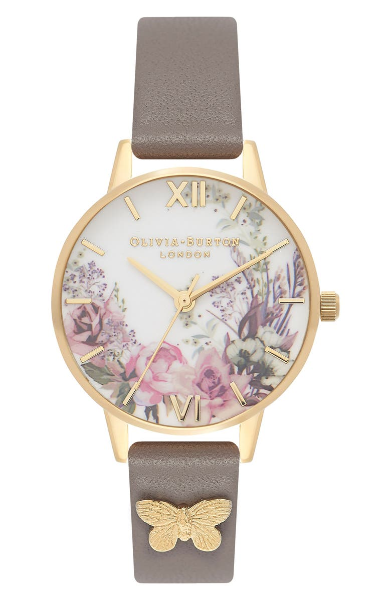 OLIVIA BURTON Enchanted Garden Leather Strap Watch, 30mm, Main, color, GREY/ WHITE/ GOLD