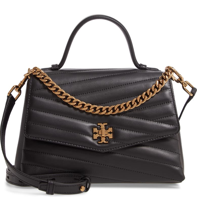 TORY BURCH Kira Chevron Quilted Leather Top Handle Satchel, Main, color, BLACK