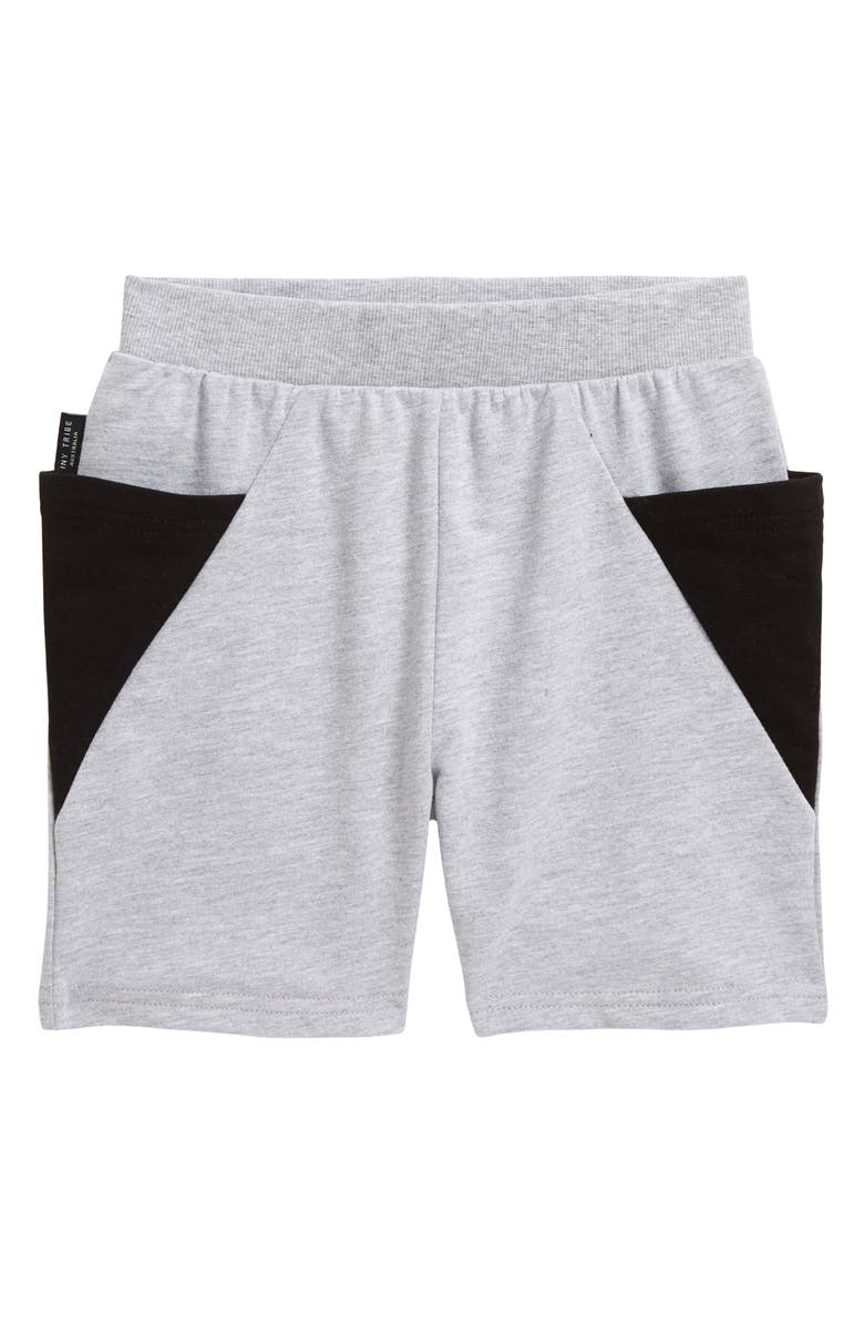 TINY TRIBE Kids' Colorblock French Terry Pocket Shorts, Main, color, GREY