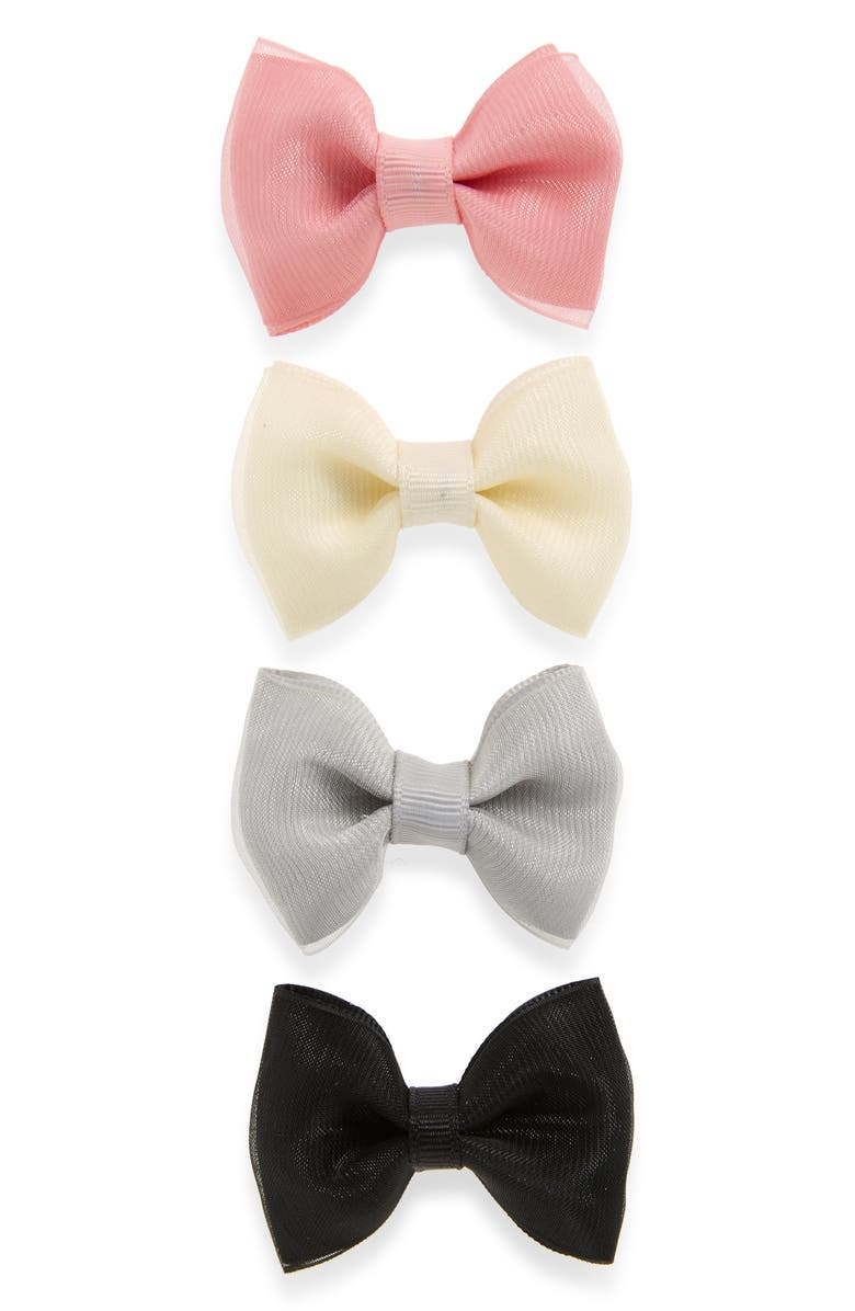 PLH BOWS & Laces 4-Pack Organza Bow Clips, Main, color, 100