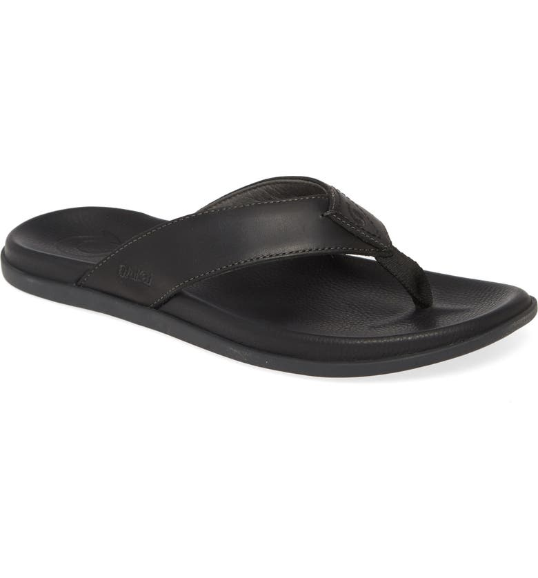 OLUKAI Nalukai Flip Flop, Main, color, LAVA ROCK LEATHER