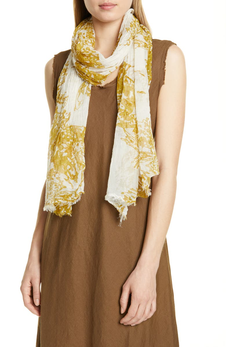 EILEEN FISHER Crinkled Organic Cotton Scarf, Main, color, LIGHT CHICORY