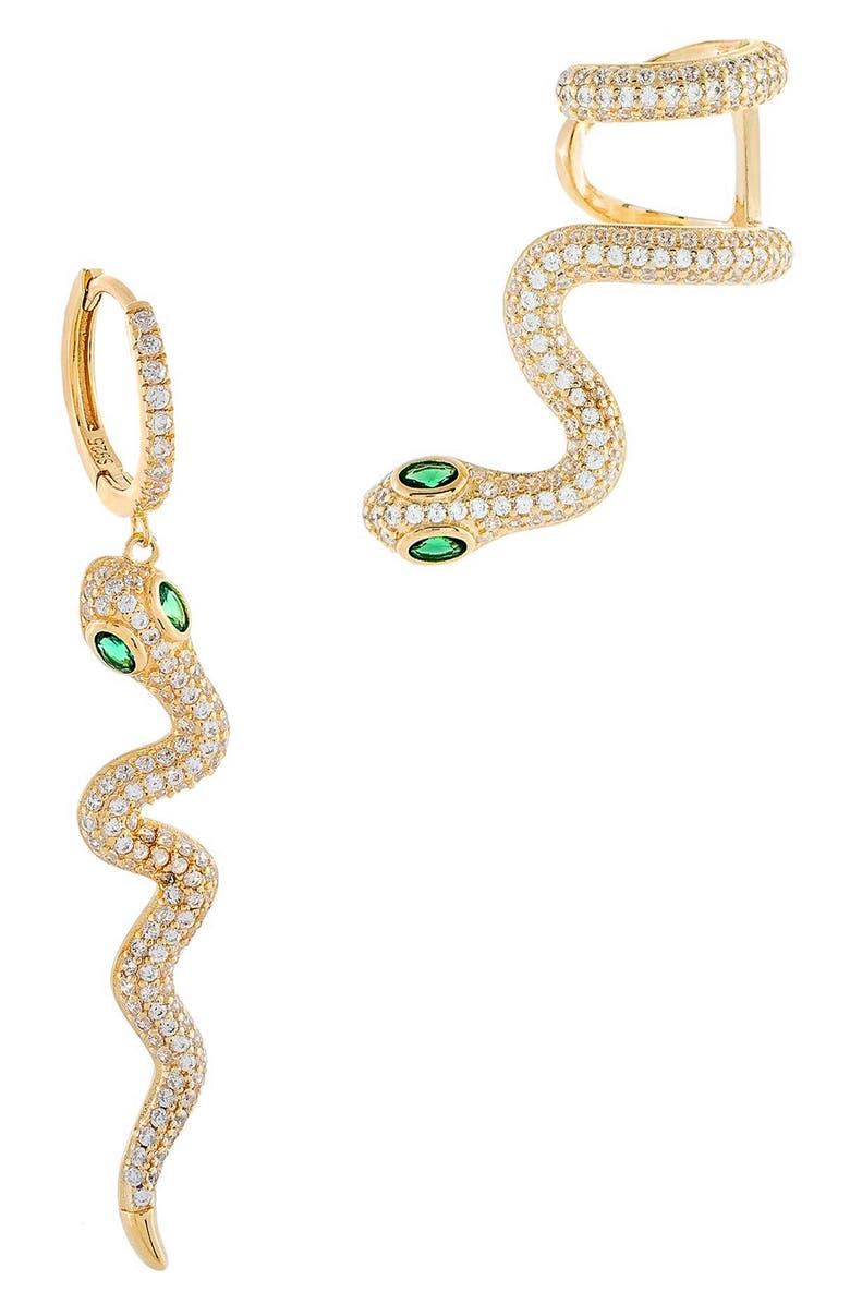ADINA'S JEWELS Pavé Snake Mismatched Earring and Ear Cuff, Main, color, 710