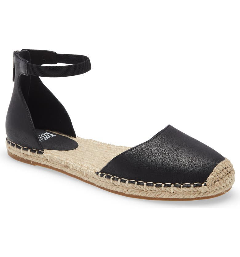 EILEEN FISHER Lala Espadrille Flat, Main, color, BLACK TUMBLED LEATHER