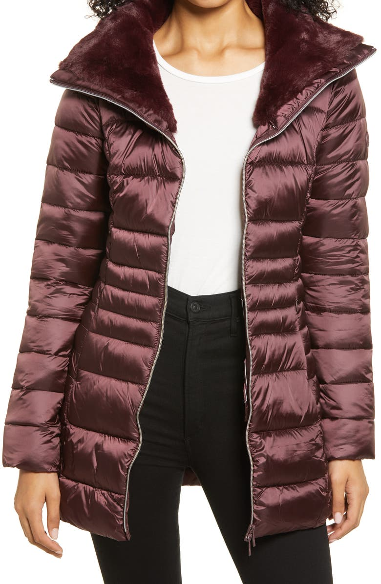 SAVE THE DUCK Faux Fur Collar Puffer Coat, Main, color, CHESTNUT BROWN