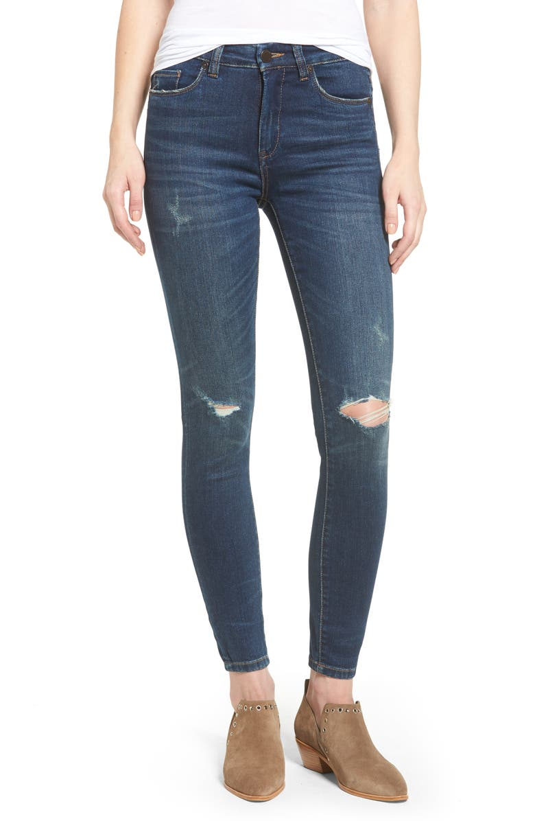 BLANKNYC Ripped Mid Rise Skinny Ankle Jeans, Main, color, PLAYING FAVORITES