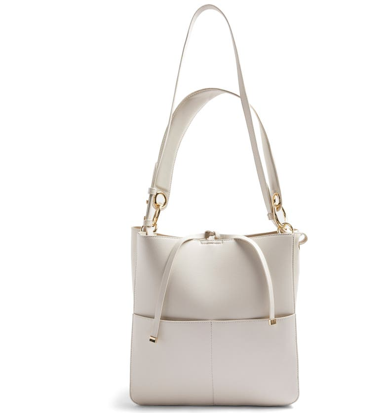 TOPSHOP Double Pocket Faux Leather Hobo, Main, color, STONE