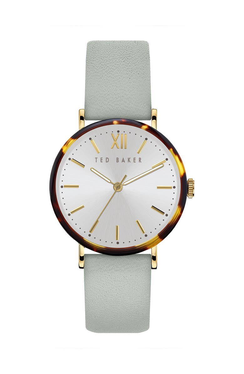 TED BAKER LONDON Women's Phylipa Leather Strap Watch, 37mm, Main, color, GOLD/ WHITE/ GREEN