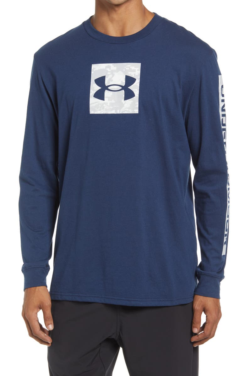 UNDER ARMOUR Men's Camo Boxed Long Sleeve Graphic Tee, Main, color, ACADEMY