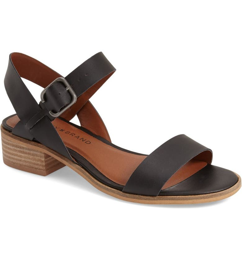LUCKY BRAND 'Toni' Stacked Heel Sandal, Main, color, BLACK LEATHER