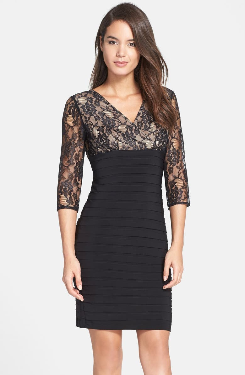 ADRIANNA PAPELL Lace Bodice Banded Sheath Dress, Main, color, 001