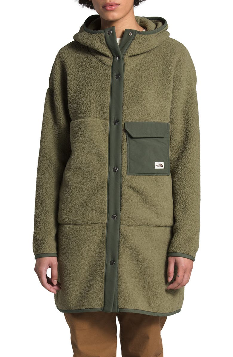 THE NORTH FACE Mashup Fleece Hooded Coat, Main, color, BURNT OLIVE GRN/NEW TAUPE GRN