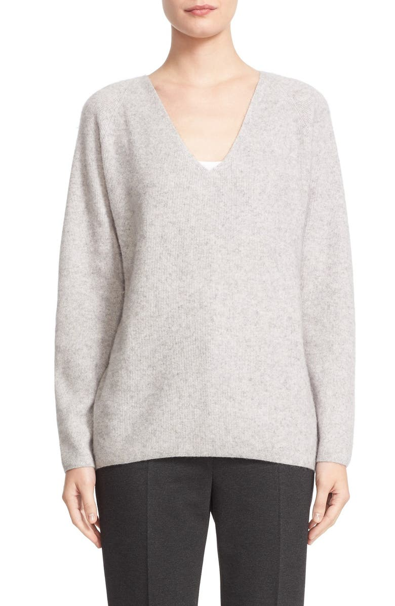 NORDSTROM SIGNATURE AND CAROLINE ISSA High/Low Cashmere V-Neck Sweater, Main, color, 050