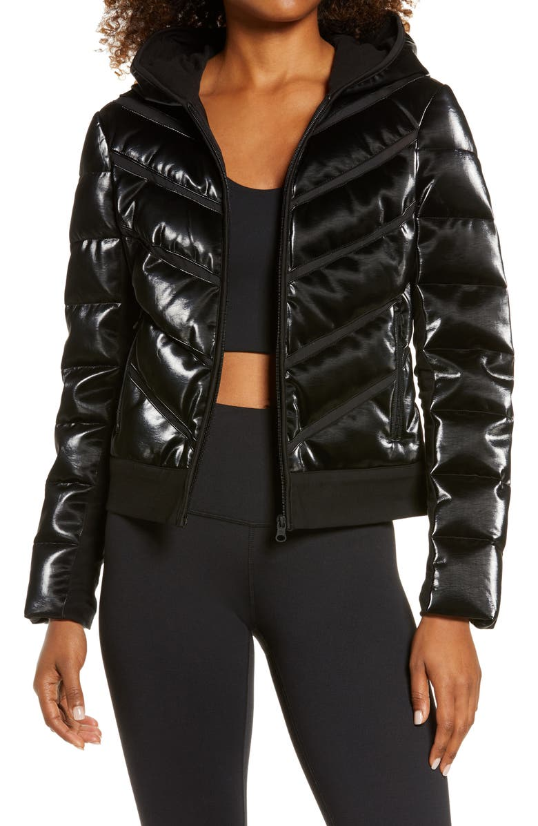 BLANC NOIR Freestyle Mesh Inset Down Puffer Jacket, Main, color, 001