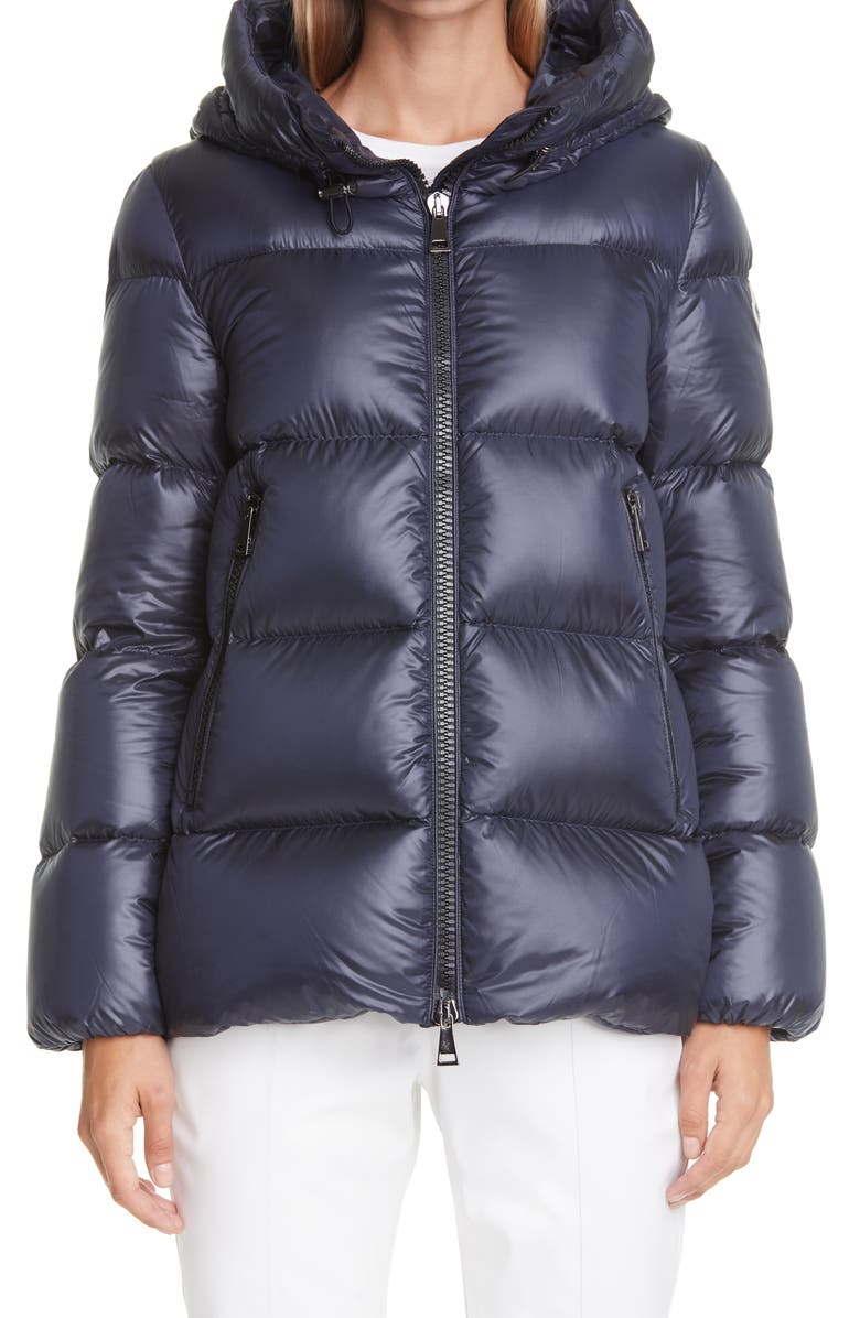 MONCLER Seritte Hooded Quilted Down Puffer Jacket, Main, color, NAVY