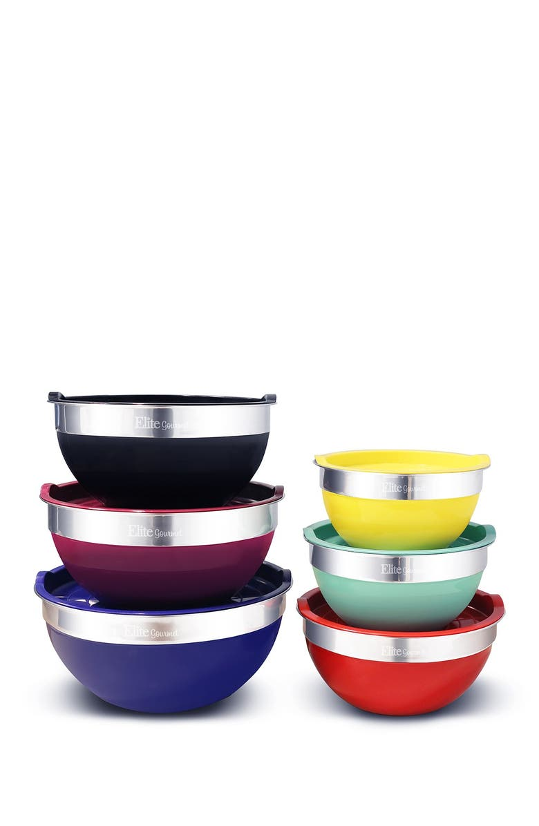 MAXI-MATIC Elite Gourmet 12-Piece Colored Mixing Bowls with Lids, Main, color, 0