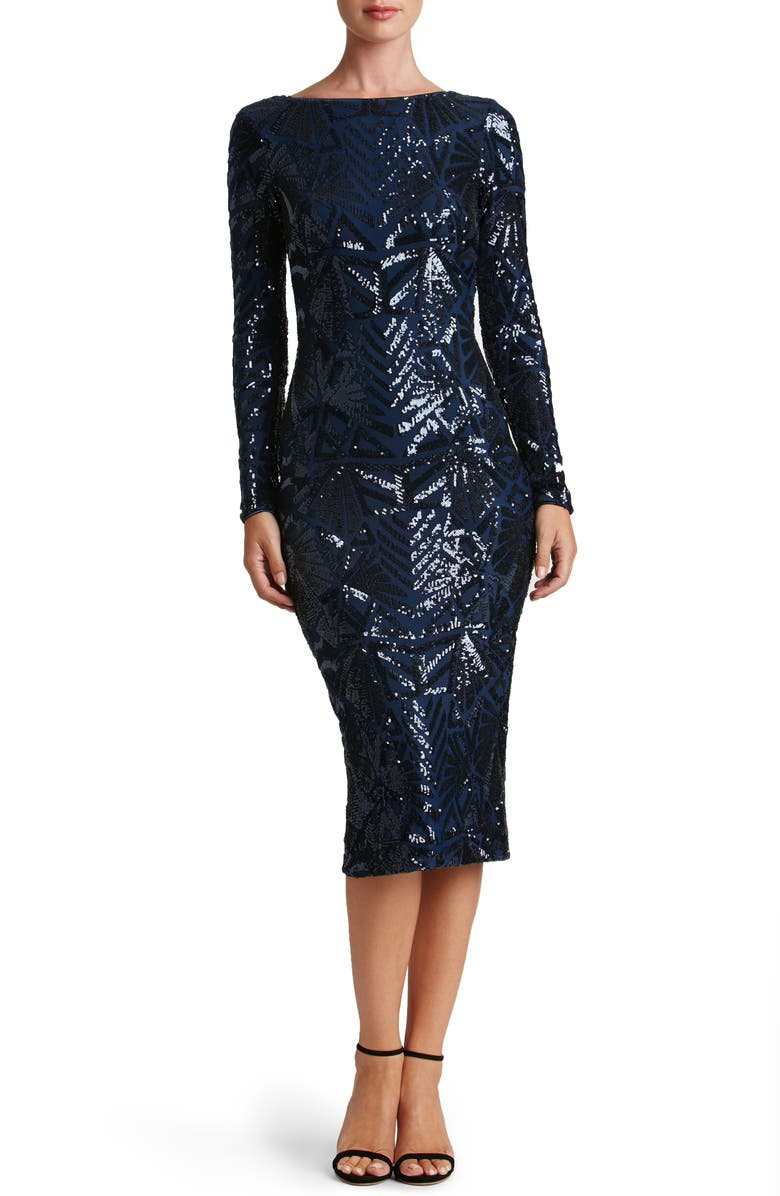 DRESS THE POPULATION Emery Long Sleeve Sequin Cocktail Dress, Main, color, NAVY