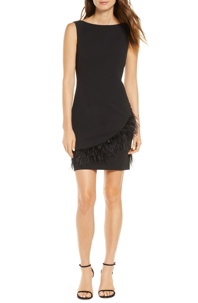 HARPER ROSE Feather Trim Sheath Dress, Main, color, 001