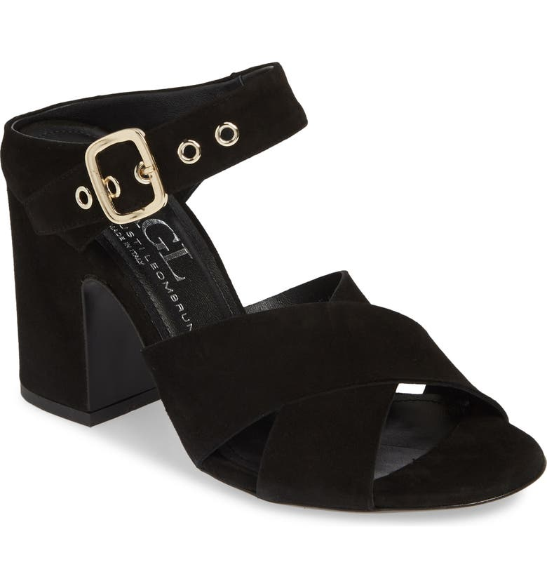 AGL Two Band Sandal, Main, color, BLACK SUEDE