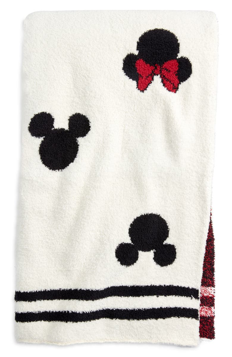 BAREFOOT DREAMS<SUP>®</SUP> Disney x Barefoot Dreams<sup>®</sup> CozyChic<sup>™</sup> Classic Mickey & Minnie Logo Throw Blanket, Main, color, CREAM