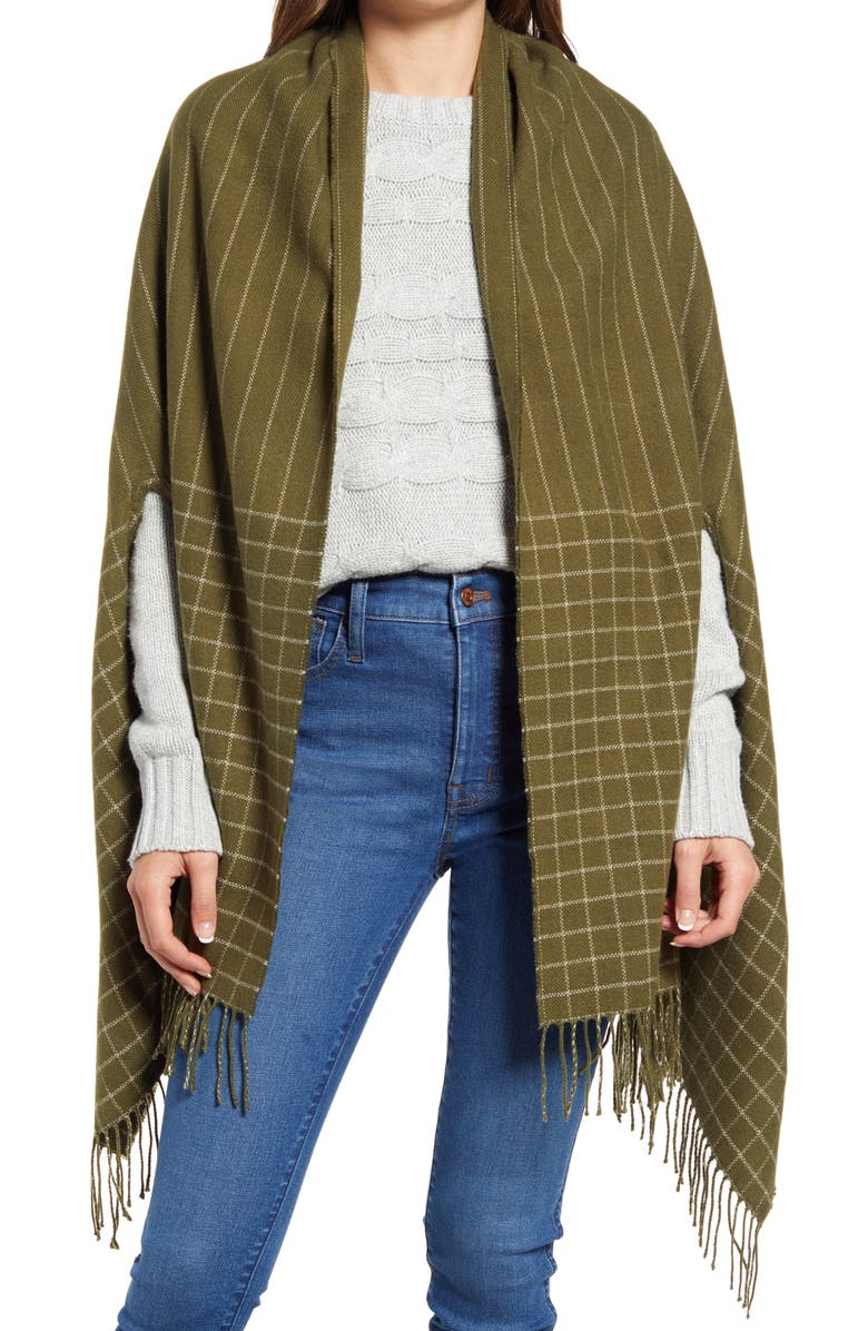 MADEWELL Pitch Stitch Cape Scarf, Main, color, DESERT OLIVE