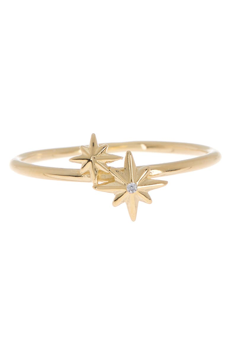 ARGENTO VIVO STERLING SILVER 18K Gold Plated Sterling Silver Double North Star Ring, Main, color, GOLD