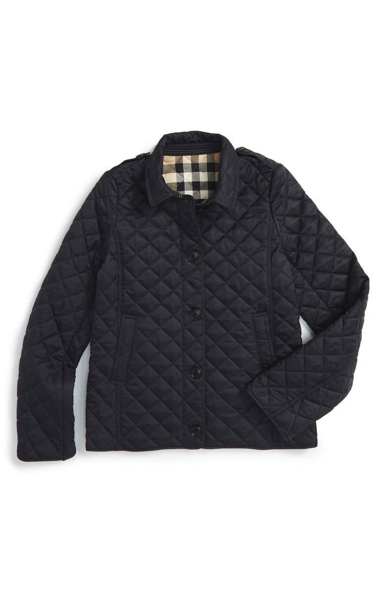 BURBERRY 'Mini Ashurst' Quilted Jacket, Main, color, 410