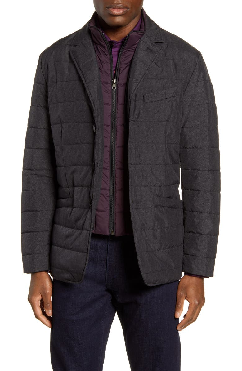 ROBERT GRAHAM Tech Downhill Regular Fit Water Resistant Quilted Jacket, Main, color, 020