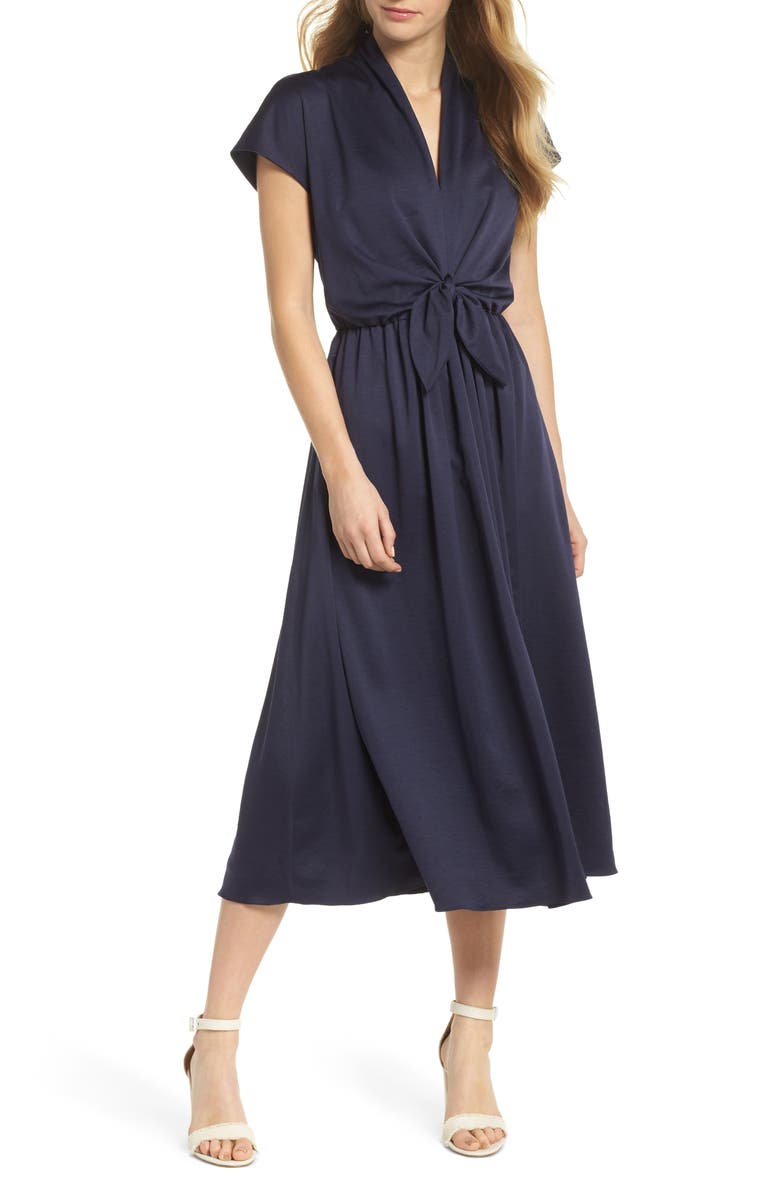 GAL MEETS GLAM COLLECTION Margie Tie Waist Satin Midi Dress, Main, color, NAVY