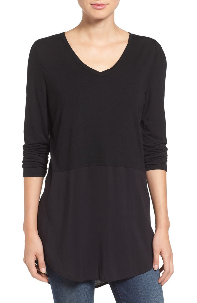 TWO BY VINCE CAMUTO Mixed Media V-Neck Tunic, Main, color, RICH BLACK