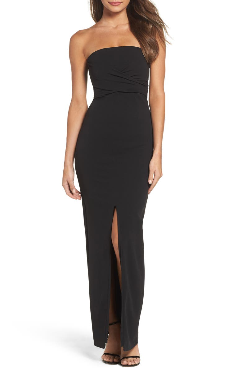 LULUS Own the Night Strapless Column Gown, Main, color, Black