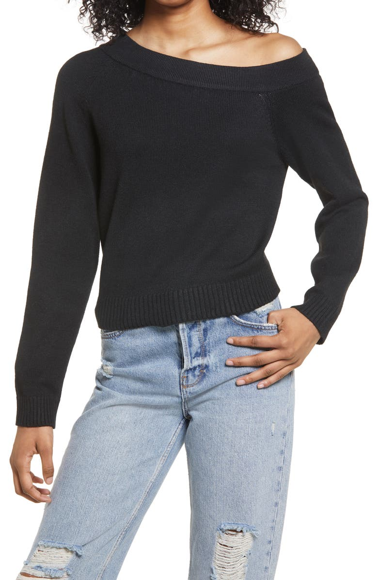 LULUS Don't Be Shy Off the Shoulder Sweater, Main, color, 001
