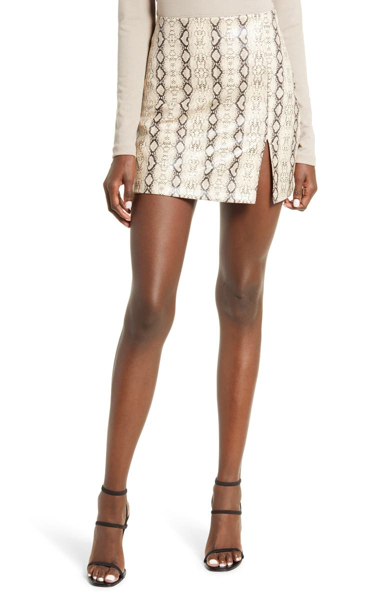 4TH & RECKLESS Eva Snakeskin Print Faux Leather Miniskirt, Main, color, 960