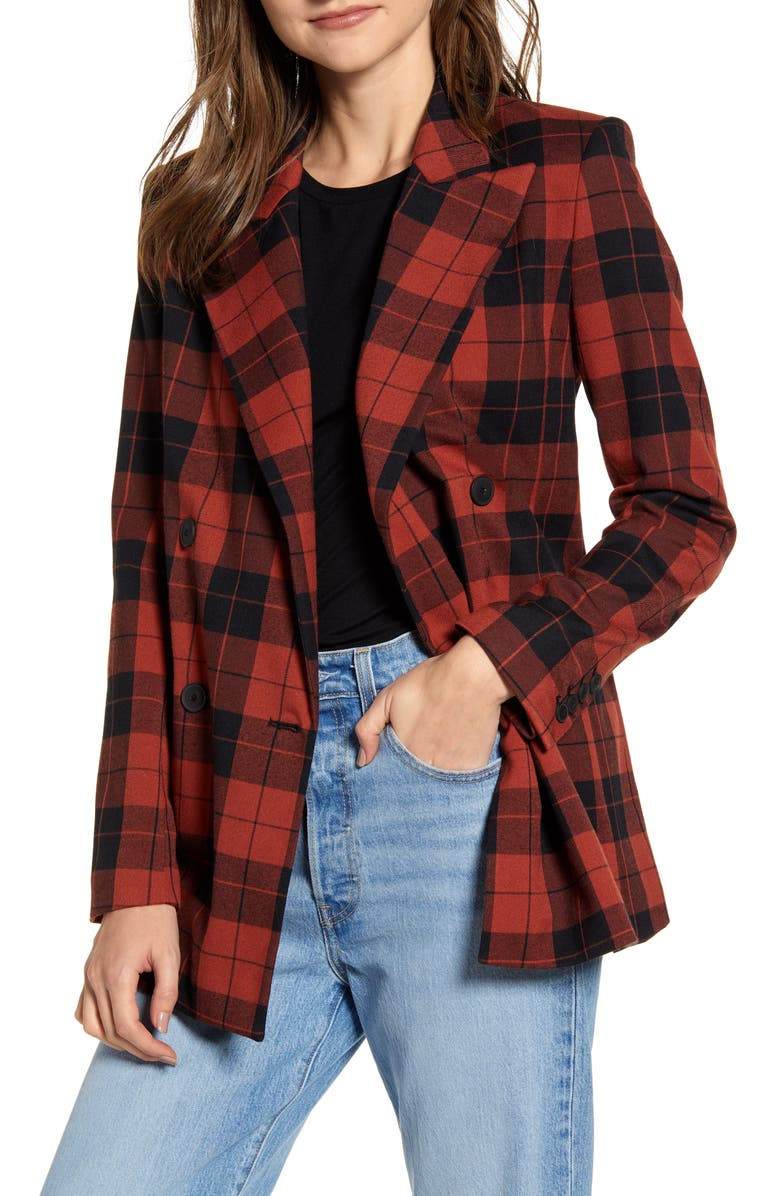 CHELSEA28 Double Breasted Plaid Blazer, Main, color, 600